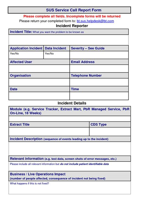 call log report template service call template 28 images service form template