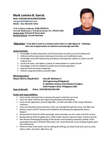sle resume for aircraft maintenance technician ojt amt resume