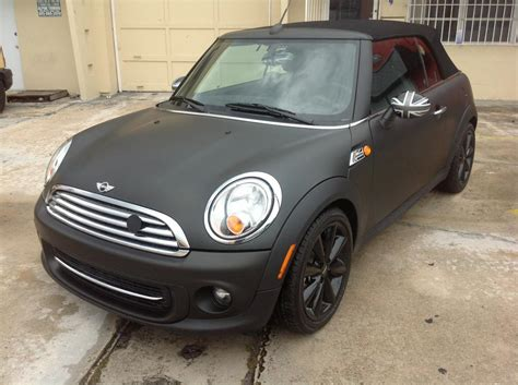 custom mini cooper wrap mini cooper black matte wrap from miami signs and graphics