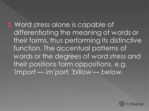 Accentual Pattern Of Words | презентация на тему quot word stress ws can be defined as