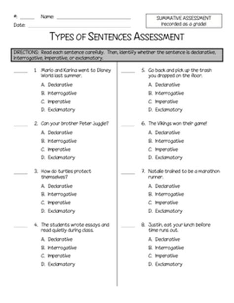 Types Of Sentences Worksheet Pdf by Types Of Sentences Quiz By The Owl Teach Teachers Pay