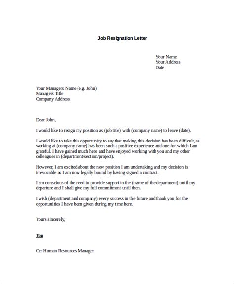 Resignation Letter Format Career Change Sle Resignation Letter 8 Exles In Pdf Word