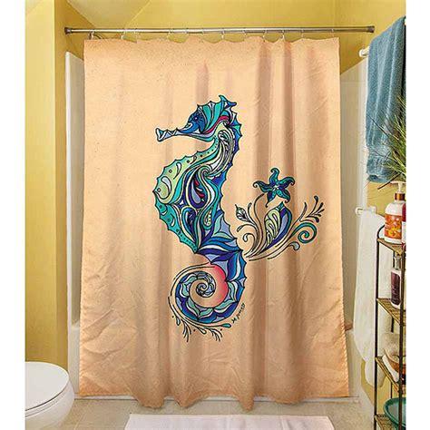 seahorse shower curtain thumbprintz seahorse shower curtain 71 quot x 74 quot walmart com