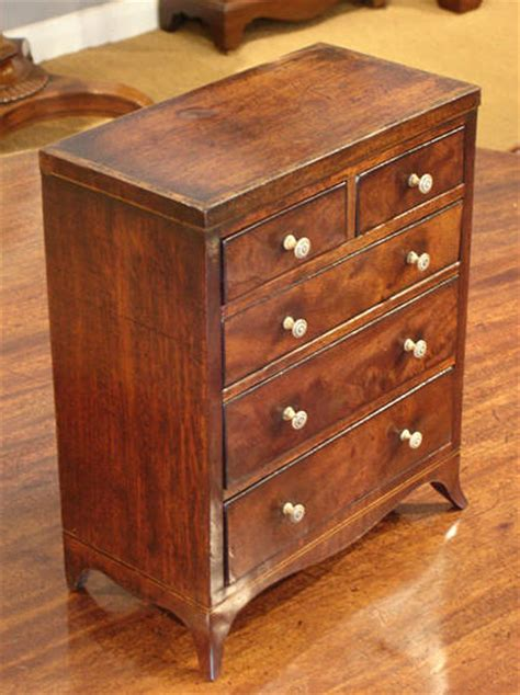 Miniature mahogany chest of drawers : Misc Antique Items