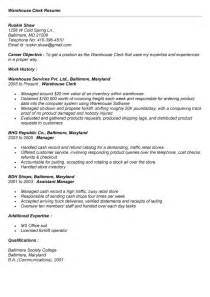 warehouse clerk resume sales clerk lewesmr