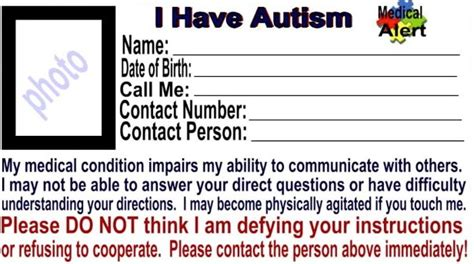 autism id card template alert id card washington autism alliance and