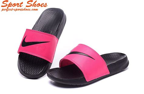 pink and black nike slippers 2016 nike benassi big logo slippers for black white