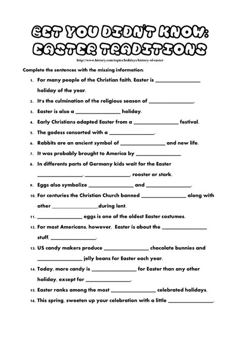 bet you didn t new year worksheet bet you didn t easter traditions