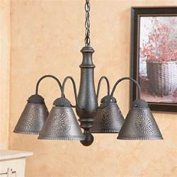 Punched Tin Ceiling Light Wood Punched Tin Chandelier Primitive Colonial Ceiling Light Shade Distressed Ebay