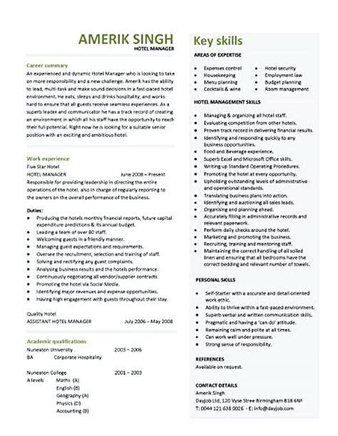 Hotel Management Resume