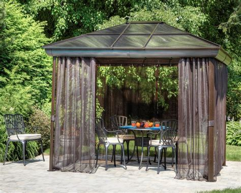 Patio Gazebos And Canopies Outdoor Hardtop Gazebo Garden Metal Roof Canopies And Gazebos 10x14 For Patio Ebay