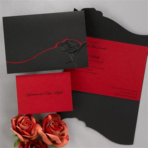 hochzeitseinladungen rot dramatic black and invitation invitations by