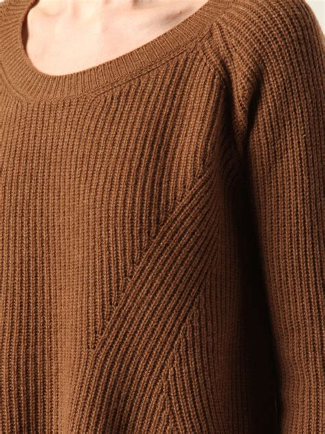 how to knit the row after on the row ribbed knit sweater in brown lyst