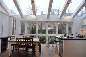 kitchen extension with large double doors and velux