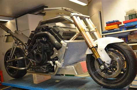 personalised motocross custom motorcycle with a twin turbo bmw v8 engine swap depot