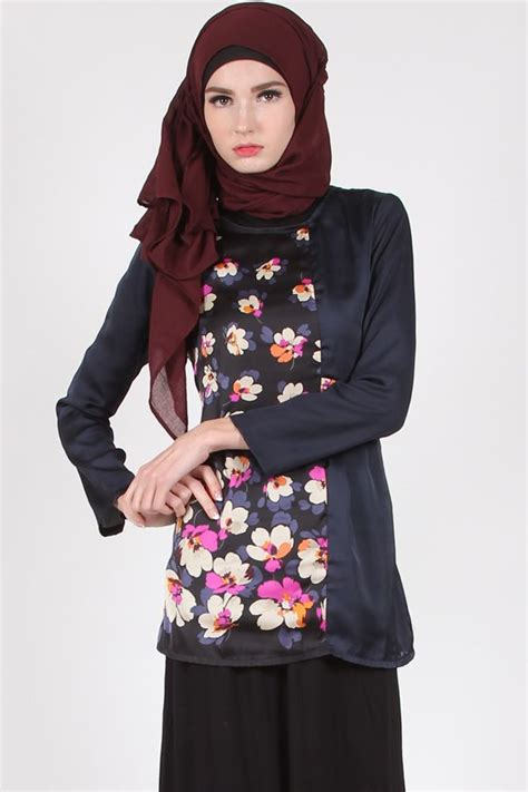 Atasan Wanita Pop Up Blouse Tunik Baju Muslim Blus Muslim Murah jual baju muslim wanita atasan muslim navy blue zyta satin floral blouse