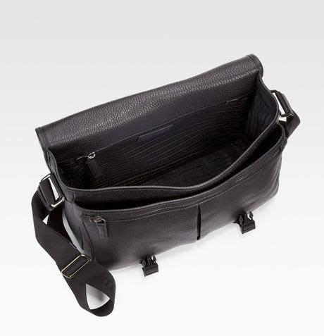 Prada Pebbled Leather Weekend Bag by Prada Pebbled Leather Messenger Bag In Black For Lyst