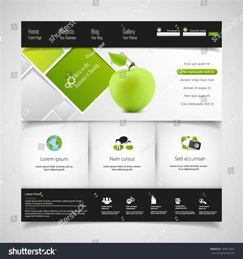Modern Clean Green Business Website Template Stock Vector Illustration 194917067 Shutterstock Modern Business Website Templates