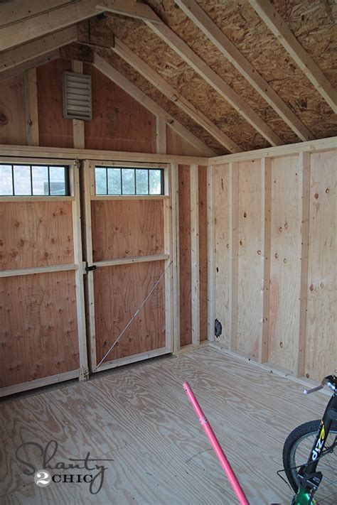 Inside Shed by New Storage Shed Shanty 2 Chic