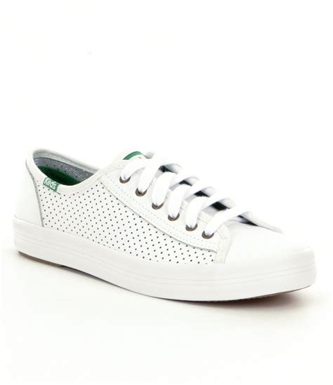 keds leather sneakers keds kickstart perf leather sneakers in white lyst