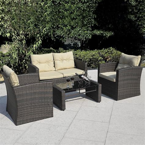 4 patio furniture sets giantex 4pc wicker sofa outdoor patio furniture set