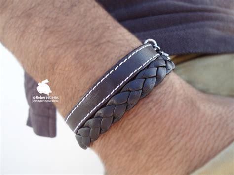 pulseras en cuero pulsera hombre en cuero trenzado y cuero con pespunte