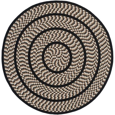 Safavieh Braided Ivory Black 4 Ft X 4 Ft Round Area Rug 4 Ft Area Rugs