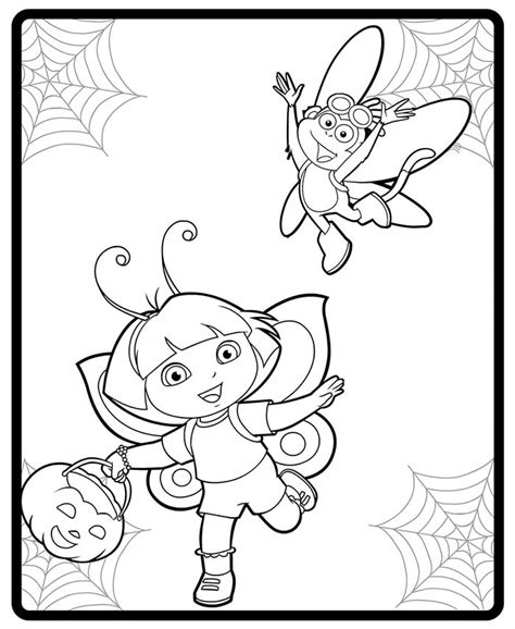 halloween coloring pages dora image dora and boot halloween costumes coloring page jpg