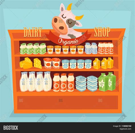 Shelf Study Of Food Products by Supermarket Shelf Dairy Products Vector Photo Bigstock