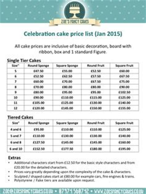 cake price list template cakepins com cake decorating