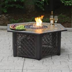 Gas Firepits Hex Lp Gas Pit Bowl With Slate Tile Mantel Walmart