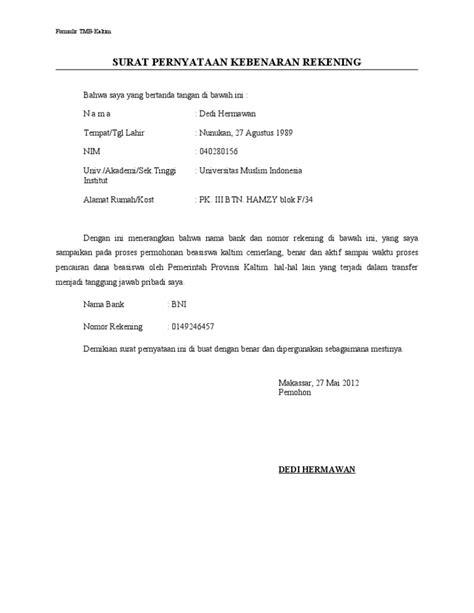 surat pernyataan rekening benar