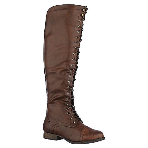 womens new shoes knee high flat lace up army combat style