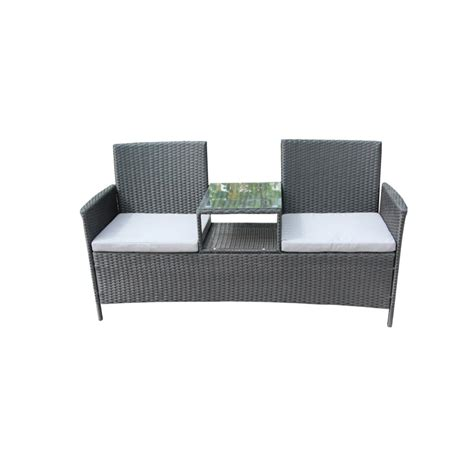 Black Sofa Cushions by Aleko Black 1 Wicker Patio Sofa With White Cushions
