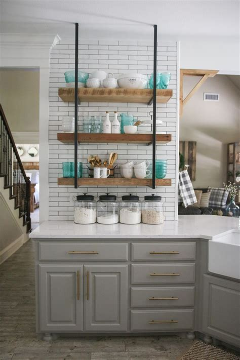 kitchen with shelves no cabinets 25 best ideas about open shelving on kitchen