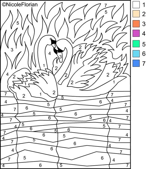 free paint by number coloring pages
