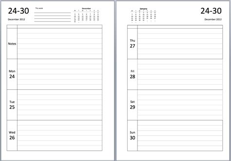 blank week to view diary pages calendar template 2016