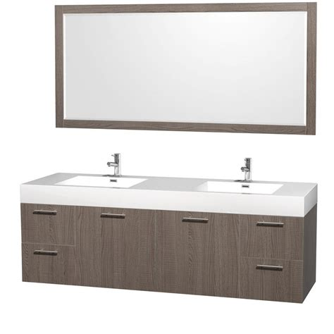 72 in double bathroom vanities wyndham collection amare 72 in double vanity in grey oak