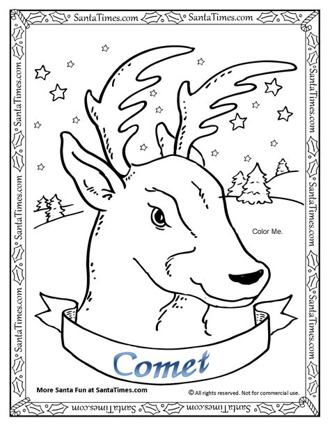 printable reindeer activities comet the reindeer coloring page gt more reindeer