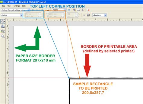 show printable area coreldraw a4 paper size when i want 1 1 measurements on paper