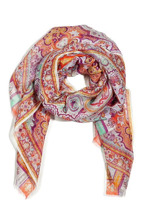 13 Best Designer Scarves by Etro Mandarin Multicolor Printed Linen And Silk Scarf In