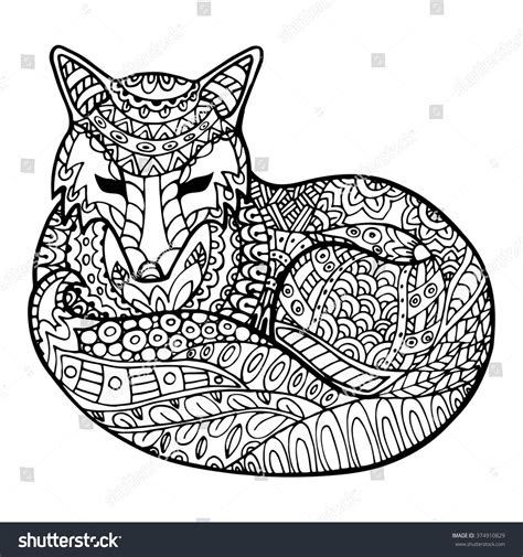 coloring pages adults foxes adult anti stress coloring page high stock vector