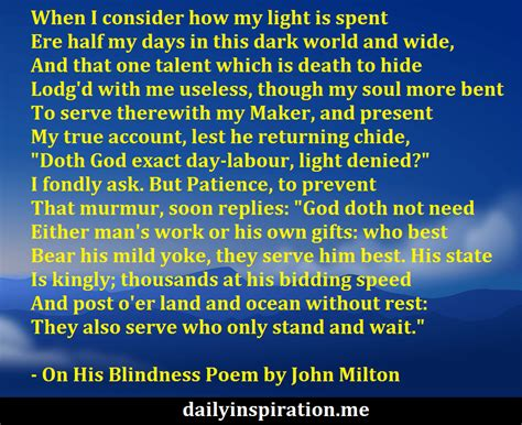 On His Blindness Poem Questions And Answers on his blindness poem by milton logical quotes