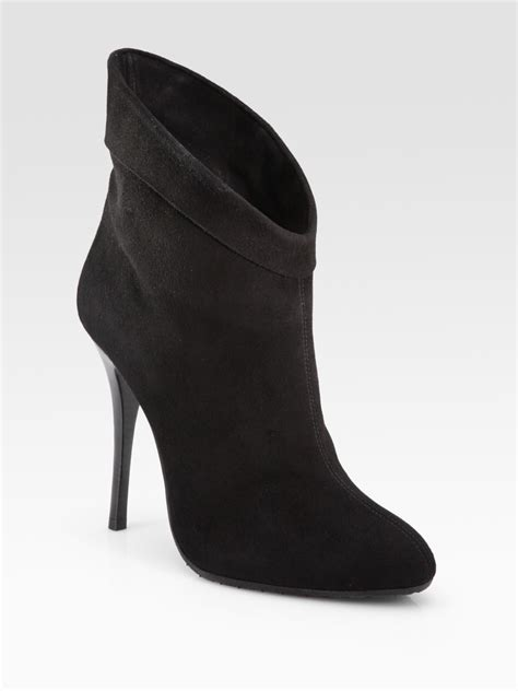 giuseppe zanotti low cut suede ankle boots in black lyst