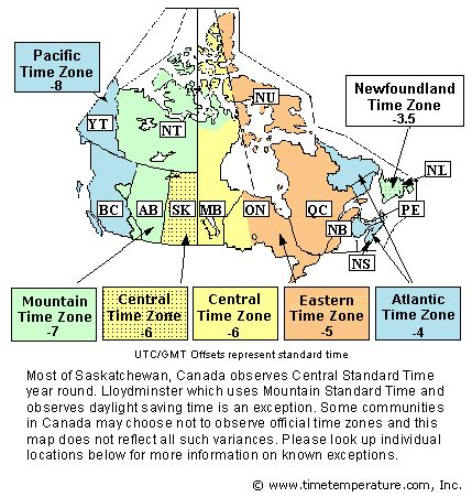 canadian map and time zones canada time zone