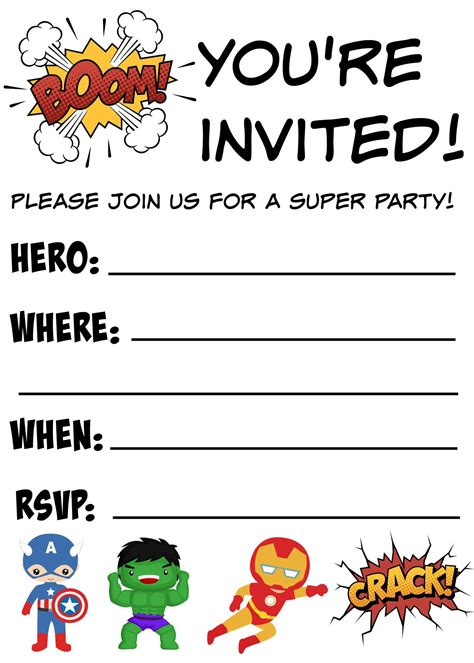printable birthday cards superhero free printable superhero birthday invitations disney