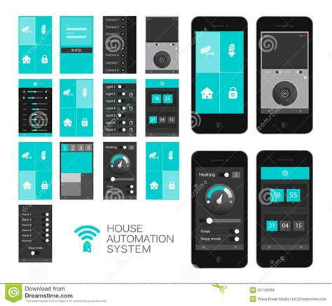 home automation app interface stock vector image 55146334