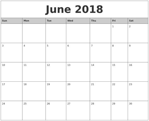 free monthly calendar template june 2018 monthly calendar printable