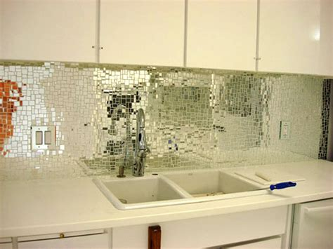 Mirror Kitchen Backsplash | look glass mirror mosaic tile backsplash apartment therapy