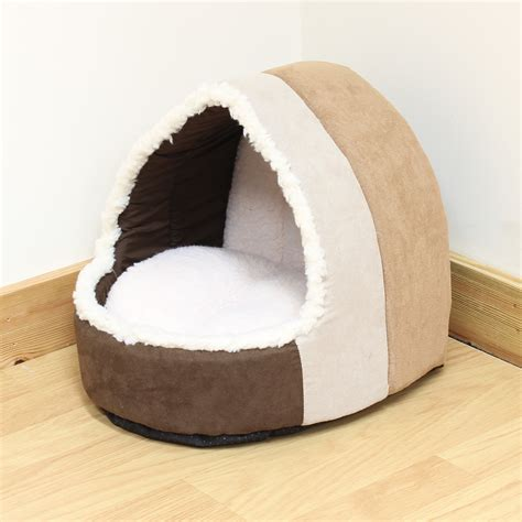dog igloo bed pet cat kitten soft brown plush igloo bed warm cave house